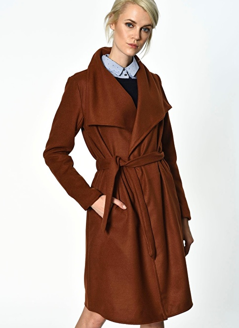 Only Bağlamalı Kaşe Palto Kırmızı